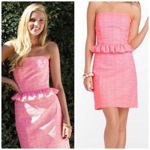 NWT Lilly Pulitzer Lowe Neon Peplum Dress
